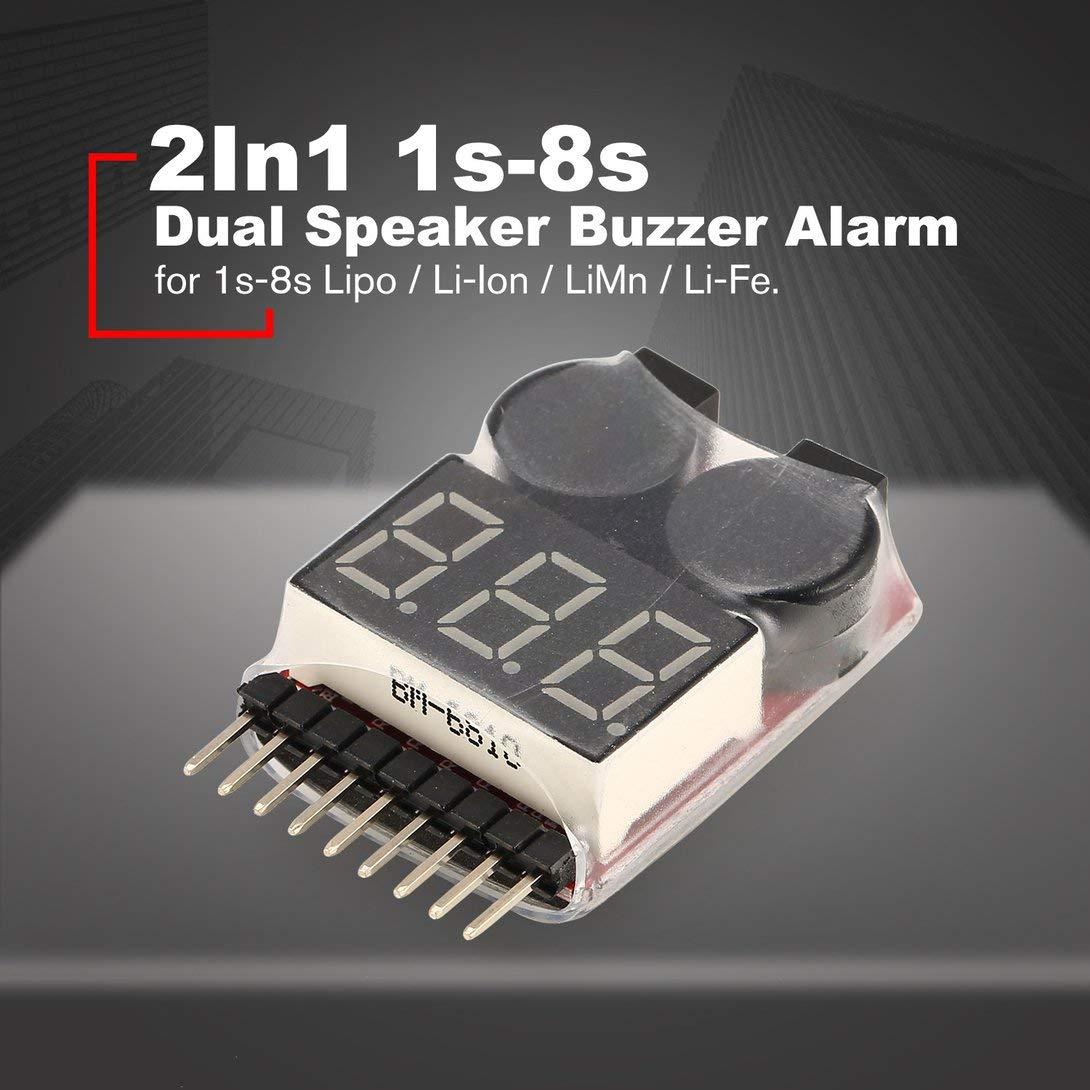 Swiftswan Testeur de Tension de Batterie Lipo Voltm/ètre Indicateur Checker Dual Speaker 2in1 1 s-8 s Combinaison avertisseur de Basse Tension