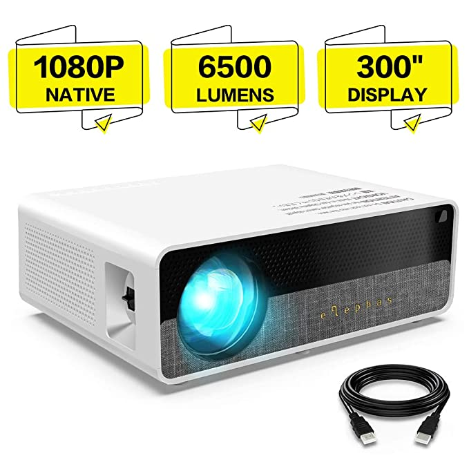 Proyector,ELEPHAS 6500 lúmenes Proyector 1080P Nativo de Video HD, Pantalla de Imagen de hasta 300