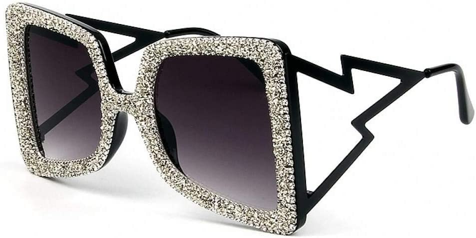AMXZP Sunglasses Oversize Sunglasses Women Big Wide Temple Bling Stones Uv400