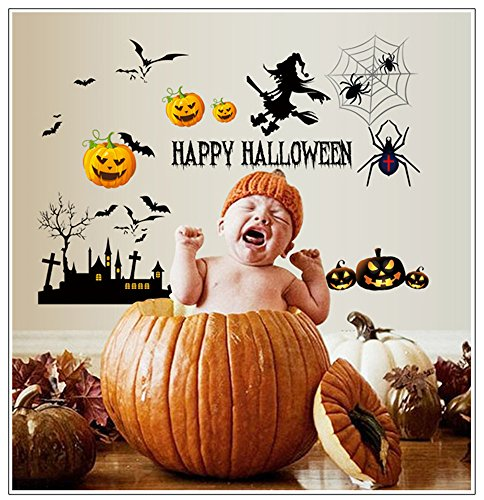 Moonlight Studio ML Black Peel and Stick Wallpaper Halloween DIY Cartoon Pumpkin with Witch Wall Sticker for Halloween Party -