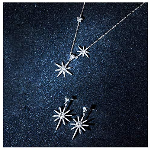 Star Earrings and Necklace Set for Women Sterling Silver, Rhinestone from Swarovski Crystal Jewelry ()
