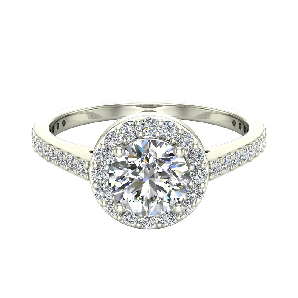 Round Brilliant Cut Diamond Dainty Halo Engagement Ring 1.15 carat total 14K White Gold (Ring Size 9)