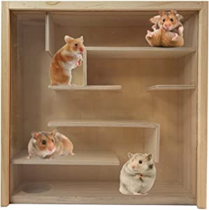 PINVNBY Hamster Maze Birch Chamber HideoutMulti-Room Hideouts & Tunnel Exploring Toys Small Pets Woodland House Habitats Decor for Small Pets Hamster Mice Gerbils MouseLemmings