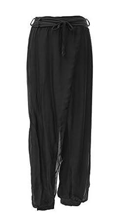 4f565e37b382 Sevello Clothing Ladies Womens Italian Lagenlook Quirky Layering Silk Rope  Belt Flap Tie Harem Trouser Leggings Joggers Pants Loose Baggy 8-16 UK ( Black)  ...