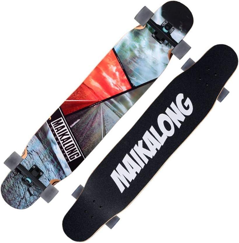 LINGLING-スケートボード ロングボード四輪スケートボードプロのダンスボード子供スクーターブラシストリートトラベル初心者アダルト 黒