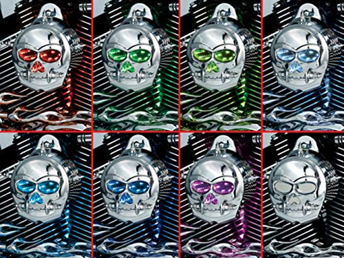 Kuryakyn 7719 Motorcycle Lighting Accessory: Zombie Infinity Horn Cover with Multi-Color LED Skull Eyes and Nose for 1992-2019 Harley-Davidson Motorcycles, - Accessories Cover Skull Horn