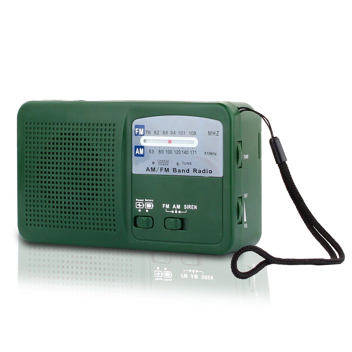 Emergency Radio with Solar and Hand Crank Self Powered, Battery USB Recharging FM/AM Radio LED Flashlight Cell Phone Charger(Green) Hoshine