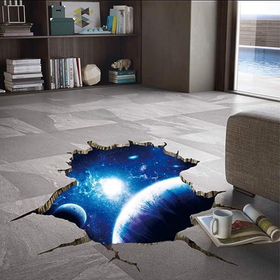 (Hjcmhjc) 3D Blau Visuelle Wirkung Aufkleber Cosmic Galaxy Planet Wanddekor Universum Weltraum Poster Für Kinderzimmer Decke