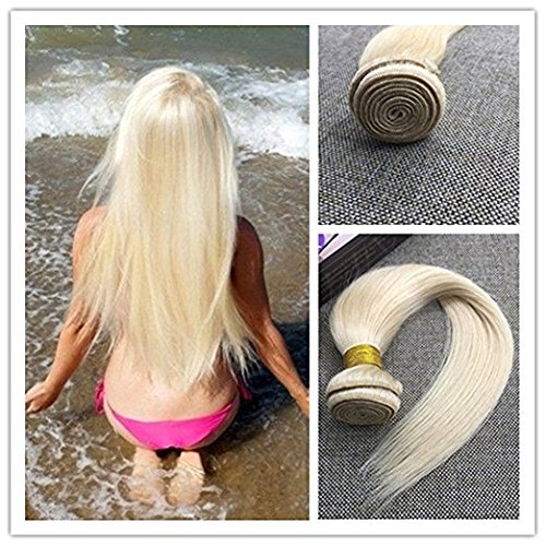 Moresoo 16 Inch Hair Weaving Extensions Bleach Blonde #613 100% Remy Brazilian Extensions Human Hair Bundles Sew in Weave Hair 100g Per Bundle