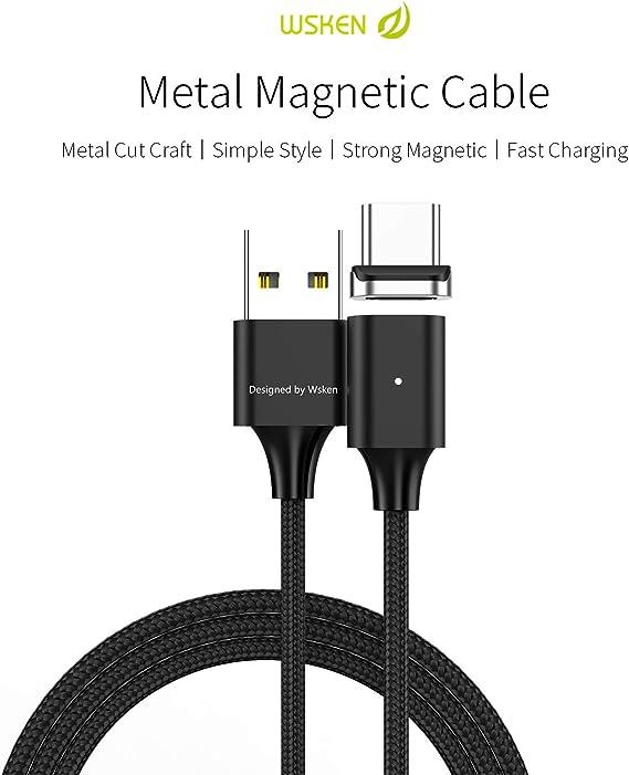 Amazon.com: WSKEN magnético Carga Rápida USB tipo C cable ...