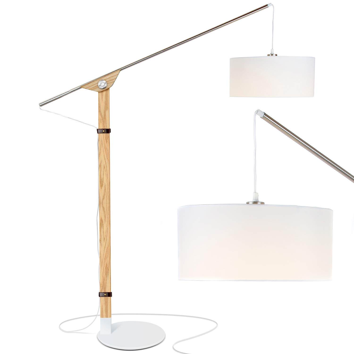 Brightech Eithan LED Floor Lamp Modern Contemporary Elevated Crane Arc Floor Lamp Linen Hanging Lamp Shade- Tall, Industrial – Uplight Lamp for Living Room Office or Bedroom Natural Wood