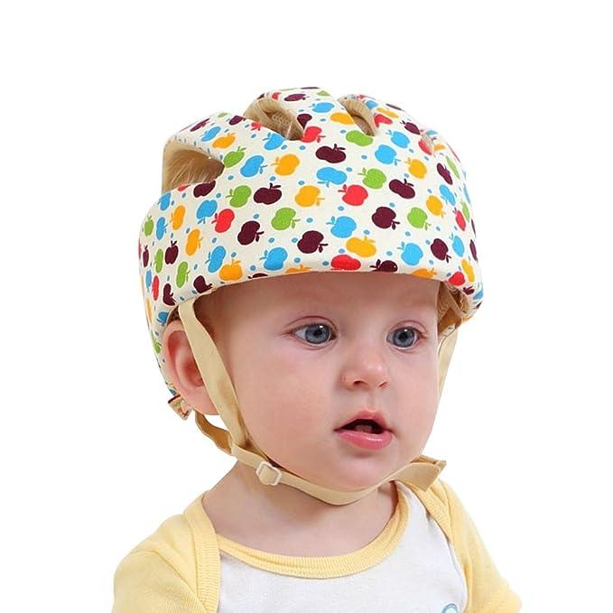 Casco de Seguridad para Bebé Infantil Antigolpes Sombrero con Ajustable Arnés de Protección para Proteger Cabeza