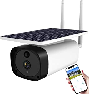 Wireless Solar Powered Security Camera Outdoor,WiFi Smart Home Security Camera with Rechargeable Battery,ENSTER 1080P Waterproof Metal 4X Zoom Surveillance Night Vision,Motion Detection,Two-Way Audio