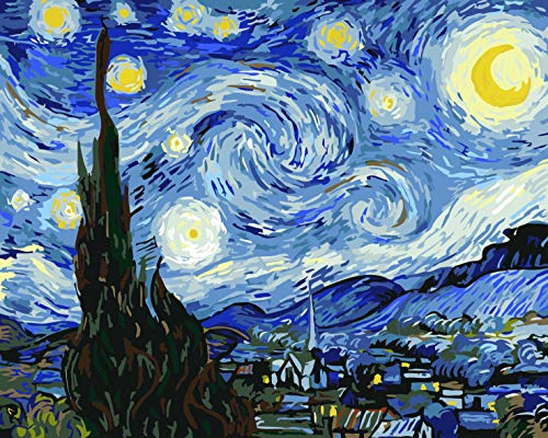 Painting by Numbers for Adults DIY Oil Paint with 3 Brushes and Acrylic Pigment for Kids and Adults, Even for Beginner Good Present for Christmas Birthday – The Starry Night (Without Frame) 16x20 inch