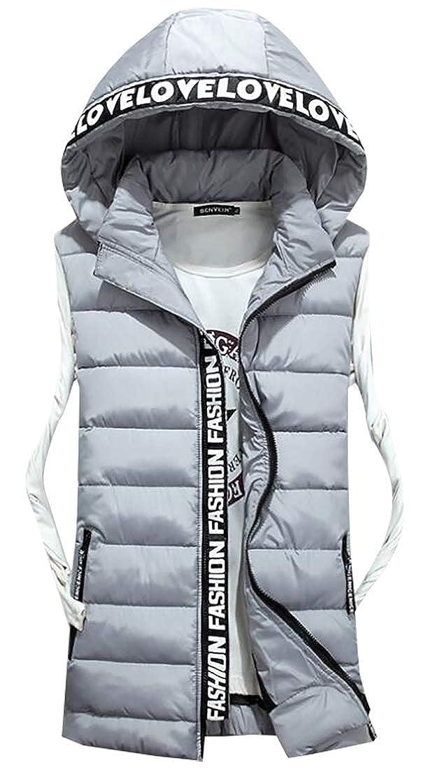 Jaycargogo Mens Winter Sleeveless Cotton Thicken Warm Design Hooded Down Vest