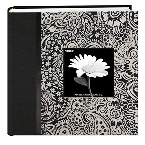 Pioneer 200 Pocket Black and White Fabric Frame Cover Photo Album, Lana