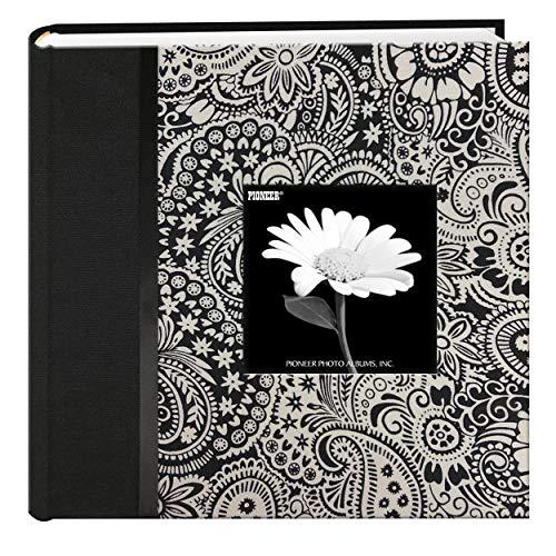 Pioneer 200 Pocket Black and White Fabric Frame Cover Photo Album, Lana