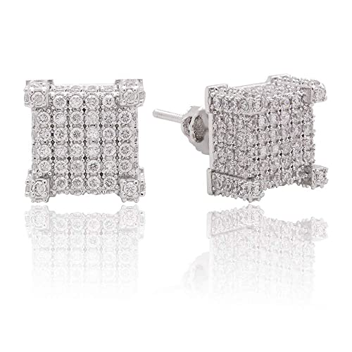 LuReen 10mm 3D Square Iced Out CZ Screw Back Stud Mens Earring aretes para  hombre ( 44b5595857b