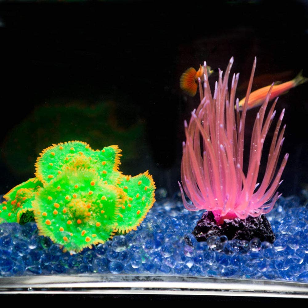 Aquarium Coral Decor for Fish Tank Aquarium Decoration 2 9//10 x 1 1//2 x 2 9//10 Danmu 1Pc of Silicone Coral Ornaments