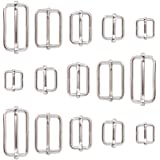 (Roller Pin Buckles) - Swpeet 100 Pcs Metal Rectangle Adjuster Triglides Slides Buckle, Roller Pin Buckles Slider Strap…