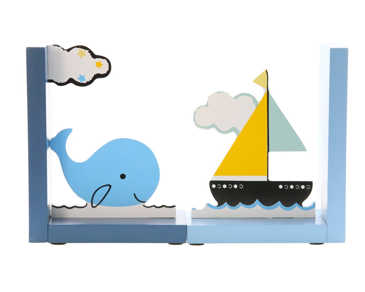 Cute Blue Ocean Whale and Boat Wooden Book Organizer Bookends book end book file Home Office Library Decoration Birthday Gift