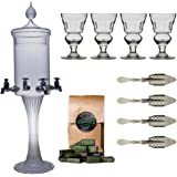 "Absinthe Accessory Set ""Heure Verte"" with 1x Absinthe Fountain / 4x Absinthe Glasses / 4x Absinthe Spoons / 1x Absinthe Sugar Cubes - Drink Absinthe the traditional way!"