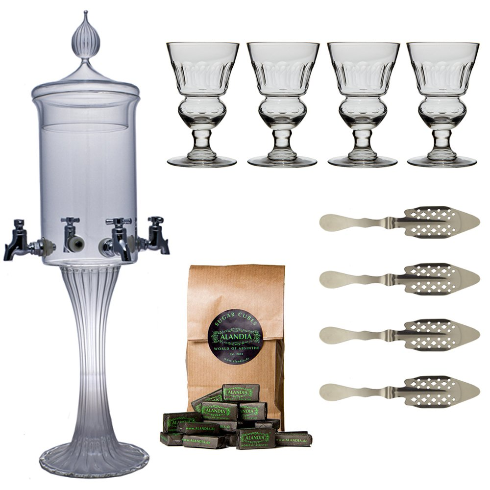 Absinthe Accessory Set ''Heure Verte'' with 1x Absinthe Fountain / 4x Absinthe Glasses / 4x Absinthe Spoons / 1x Absinthe Sugar Cubes - Drink Absinthe the traditional way!