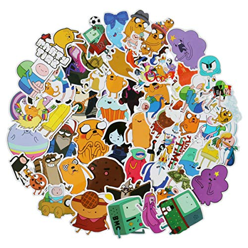 50pcs Adventure Time with Finn and Jake Stickers Variety Vinyl Car Sticker Motorcycle Bicycle Luggage Decal Graffiti Patches Skateboard Stickers for Laptop Stickers for Kid and Adult (Finn and Jake) (Adventure Time Decal Laptop)