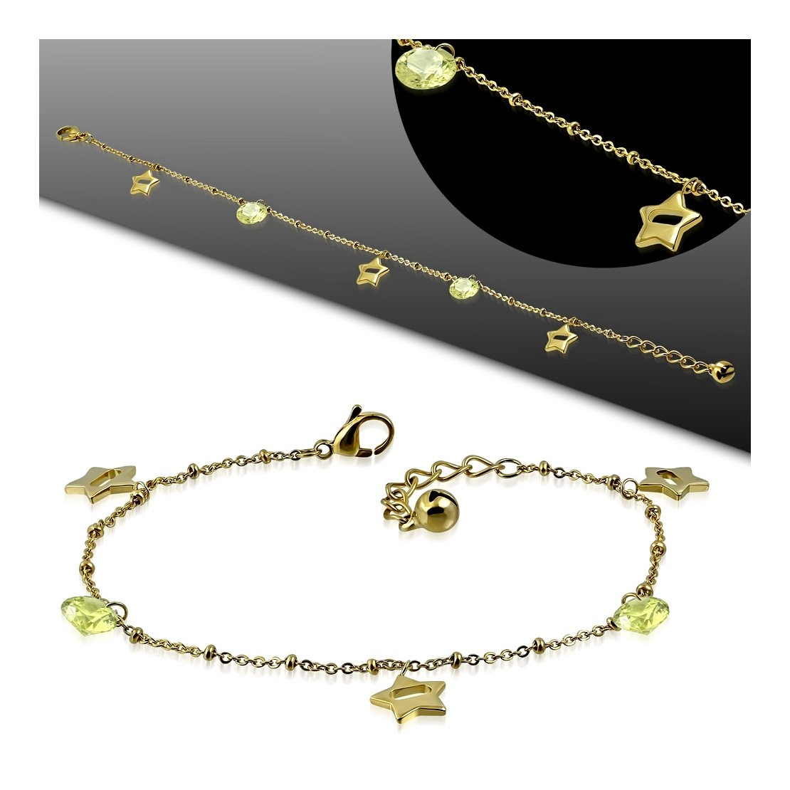Stainless Steel Gold Color Plated Cut-out Star Charm Bracelet// Anklet with Extender Chain /& Peridot CZ