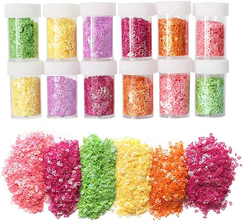 12 Pack Slime Bead Supplies,Simuer Heart Shape Glitter Sequins ...
