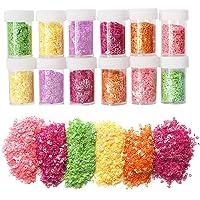 12 Pack Slime Bead Supplies,Simuer Heart Shape Glitter
