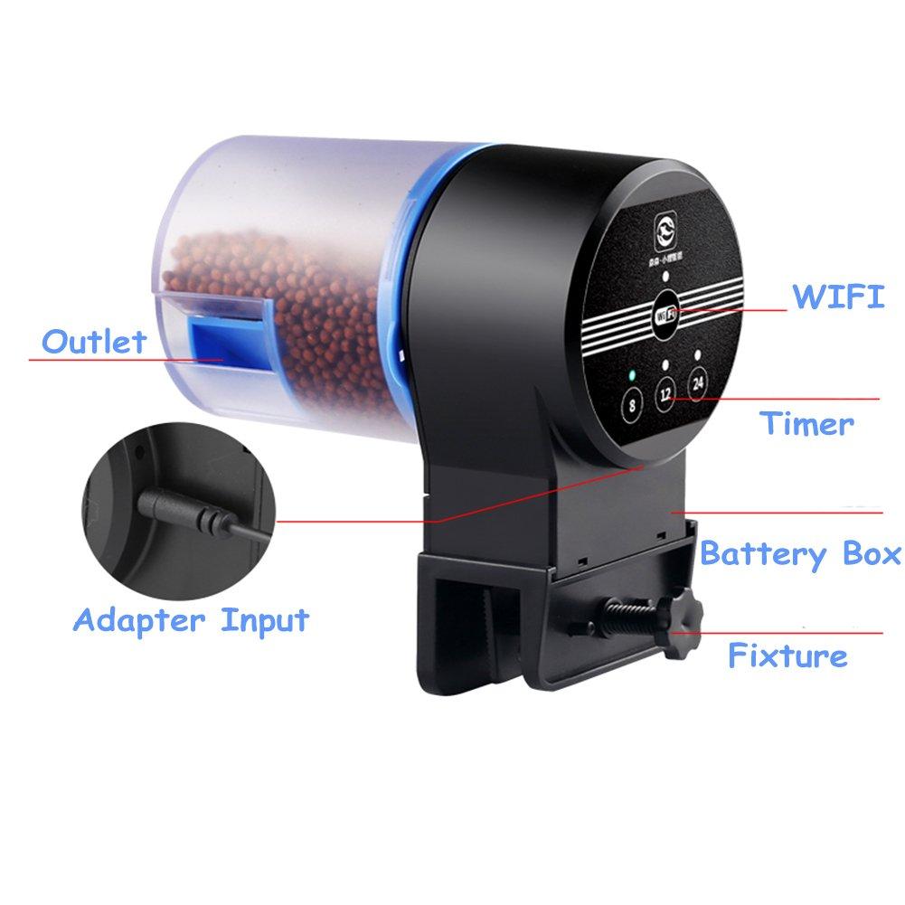 Alimentador automático programable para acuario, dispensador automático de alimentos con control WiFi para peces, alimentador electrónico temporizador para ...