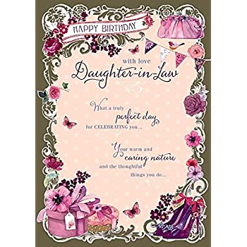 Daughter In Law Truly Perfect Nice Verse Happy Birthday Greeting Card