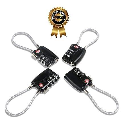 TSA Equipaje Locks (4pack) – 3 dígitos combinación candados – aprobado viaje cerradura para