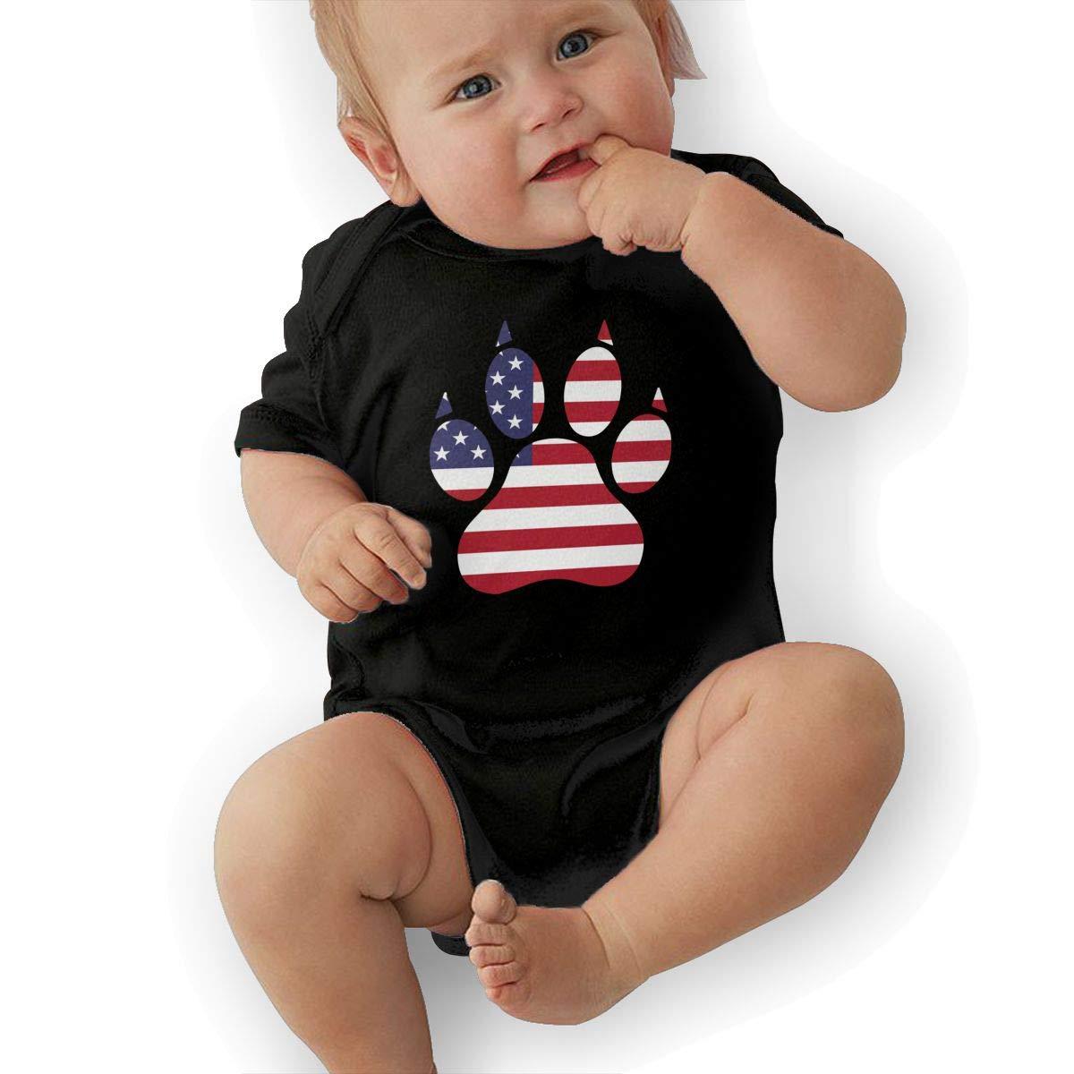 Cute American Flag Dog Paw Sleepwear Short Sleeve Cotton Bodysuit for Unisex Baby