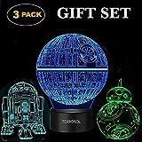 Terrosol 3D Star Wars Lamp - Star Wars Gifts - 3 Pattern&1 Base - Star Wars R2-D2 - Star Wars Bb8 - Death Star Wars - Star Wars Light - Optical Illusion Led Light - Star Wars Lamp