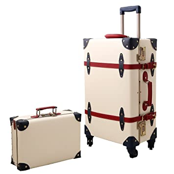 70570289aab8 Travel Vintage Luggage Sets Cute Trolley Suitcases Set Lightweight Trunk  Retro Style for Women Ivory White 26