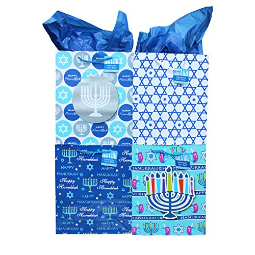 Hanukkah Medium Gift Bag in Assorted Designs - 8 Pack - Chanukah Bag