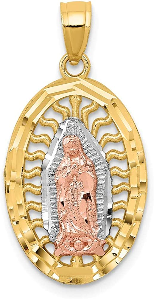 FB Jewels Solid 14K White And Yellow Two Tone Gold W//White Rhodium Diamond-Cut Oval CZ Cubic Zirconia Lady Of Guadalupe Pendant