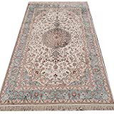 Cheap Yilong Carpet 5′ x 8′ Hand Knotted Silk Carpet Oriental Nain Persian Classic Medallion Pattern Large Handmade Living Room Rug Y310AB5x8