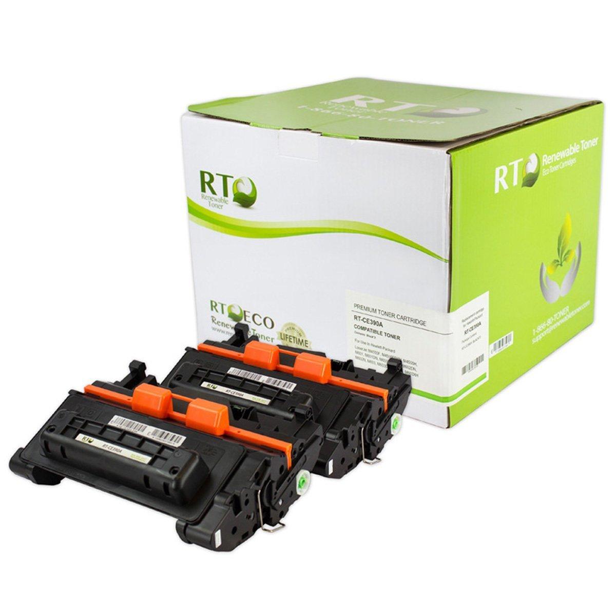 Renewable Toner 90A CE390A Compatible Cartridge Replacement for LaserJet Enterprise 600, M4555 (Black, 2-Pack)
