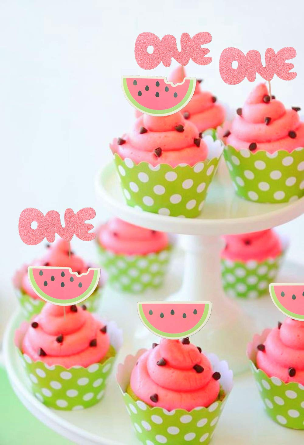 JeVenis Set of 25 Watermelon Cupcake Topper Watermelon One Cupcake Topper Baby Girl First Birthday Cupcake Topper by JeVenis (Image #2)