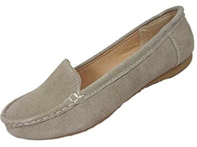 72ded81983a Jo   Joe Ladies Suede Leather Loafer Flat Casual Shoes Grey Taupe ...