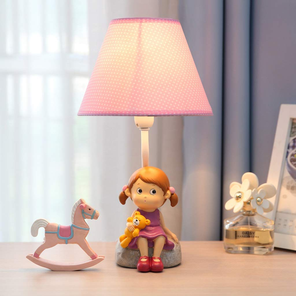 Children's Table Lamp - Warm and Lovely Little Girl Table Lamp, Bedroom Bedside Creative Fashion Cartoon Children's Room Table Lamp Decoration (Size : M) by High-quality table lamp (Image #2)