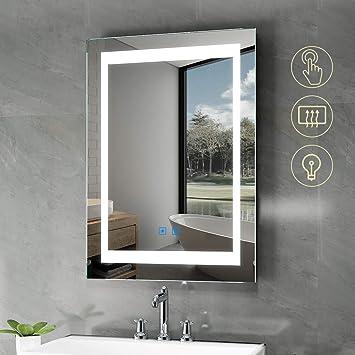 Quavikey Led Badspiegel 50 X 70 Cm Badezimmer Spiegel Lichtspiegel Schminkspiegel Wandspiegel Mit Beleuchtung Antibeschlag Touch Schalter Helligkeit