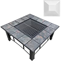 Grillz Outdoor Fire Pit Square Metal Fire pit Backyard Patio Garden Stove Wood Burning Fire Pit W/Rain Cover, Black