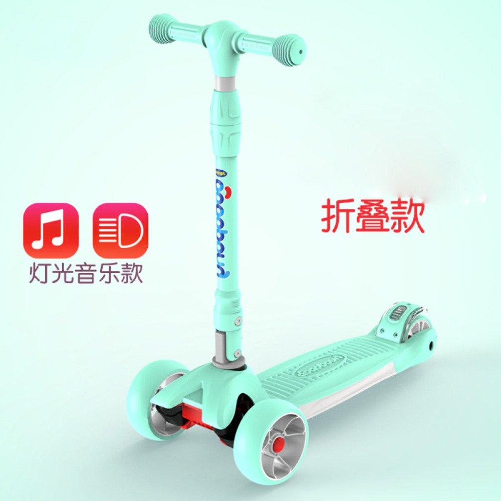 Foldvert+Music  QXMEI Mini Scooter 3 Roues LED Lumière Réglable Hauteur Enfance Fun Excellente Stabilité Stable