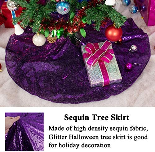 Sparkly Glittery Sequin Xmas Tree Skirt Made In USA 52 GOLD Christmas Sequin Tree Skirt
