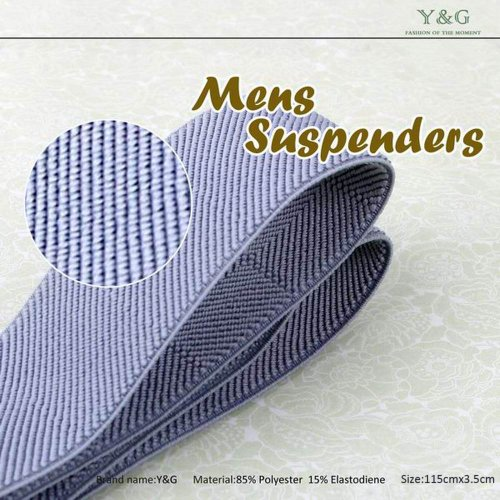 SP2002 Blue Checkered Leather Suspenders Excellent Gifts for Father Y-Back Clip-on Fantastic Gentlemen By Y&G by Y&G (Image #2)