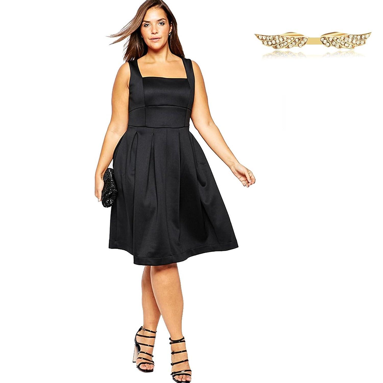 Angelwing Damen Kleider Plus-Size Partykleider Elegant Hepburn Stil ...